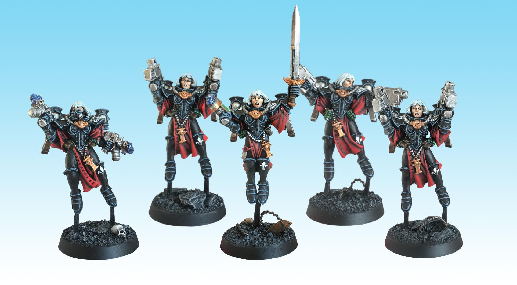 Adepta Sororitas, Old Hammer, Order Of Our Martyred Lady, Painted, Seraphim, Sisters Of Battle, Squad, Warhammer 40,000