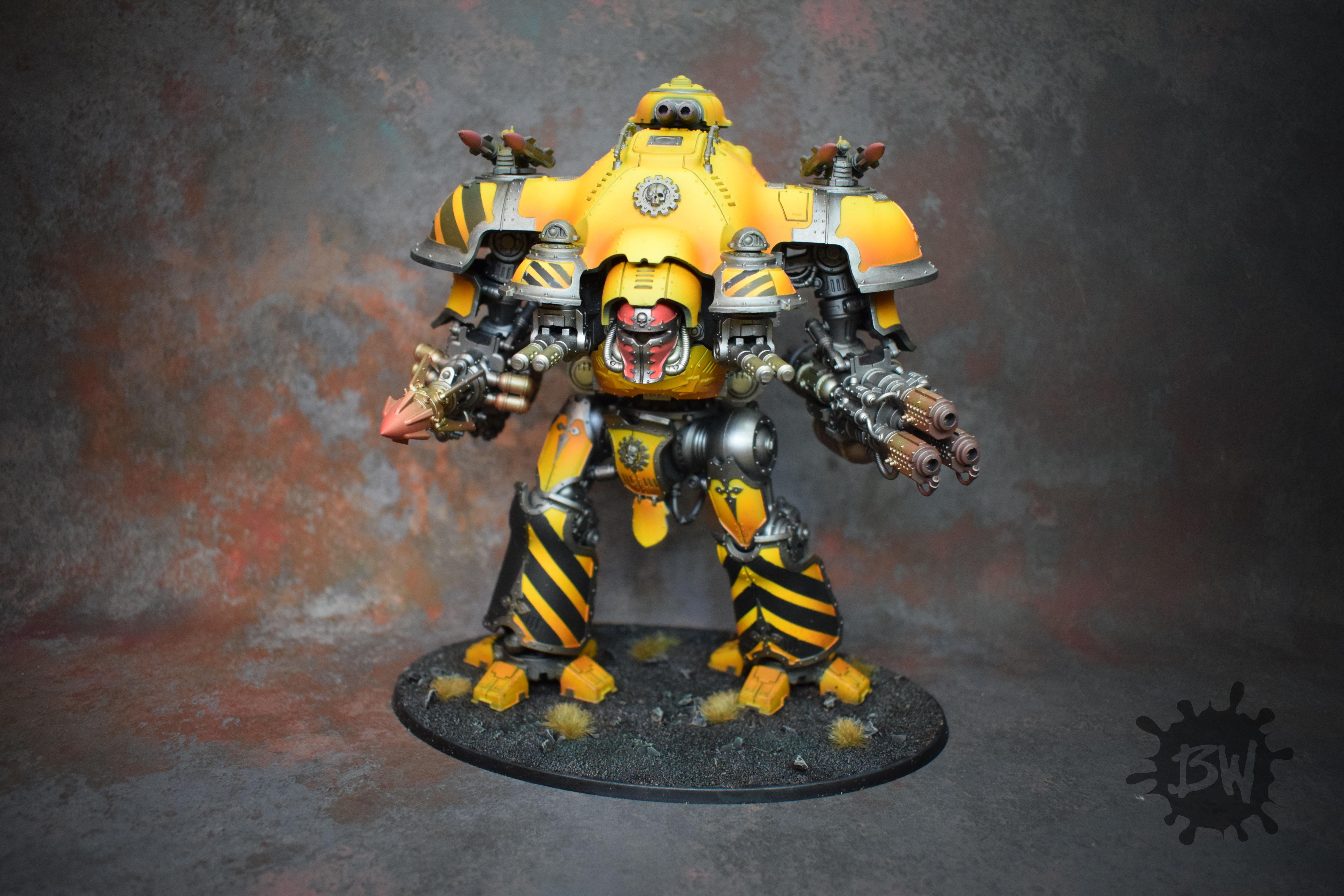 Bw, Commission, Imperial Knight, Imperium, Knight Tyrant Valiant, Painting, Warhammer 40,000, Warhammer Fantasy