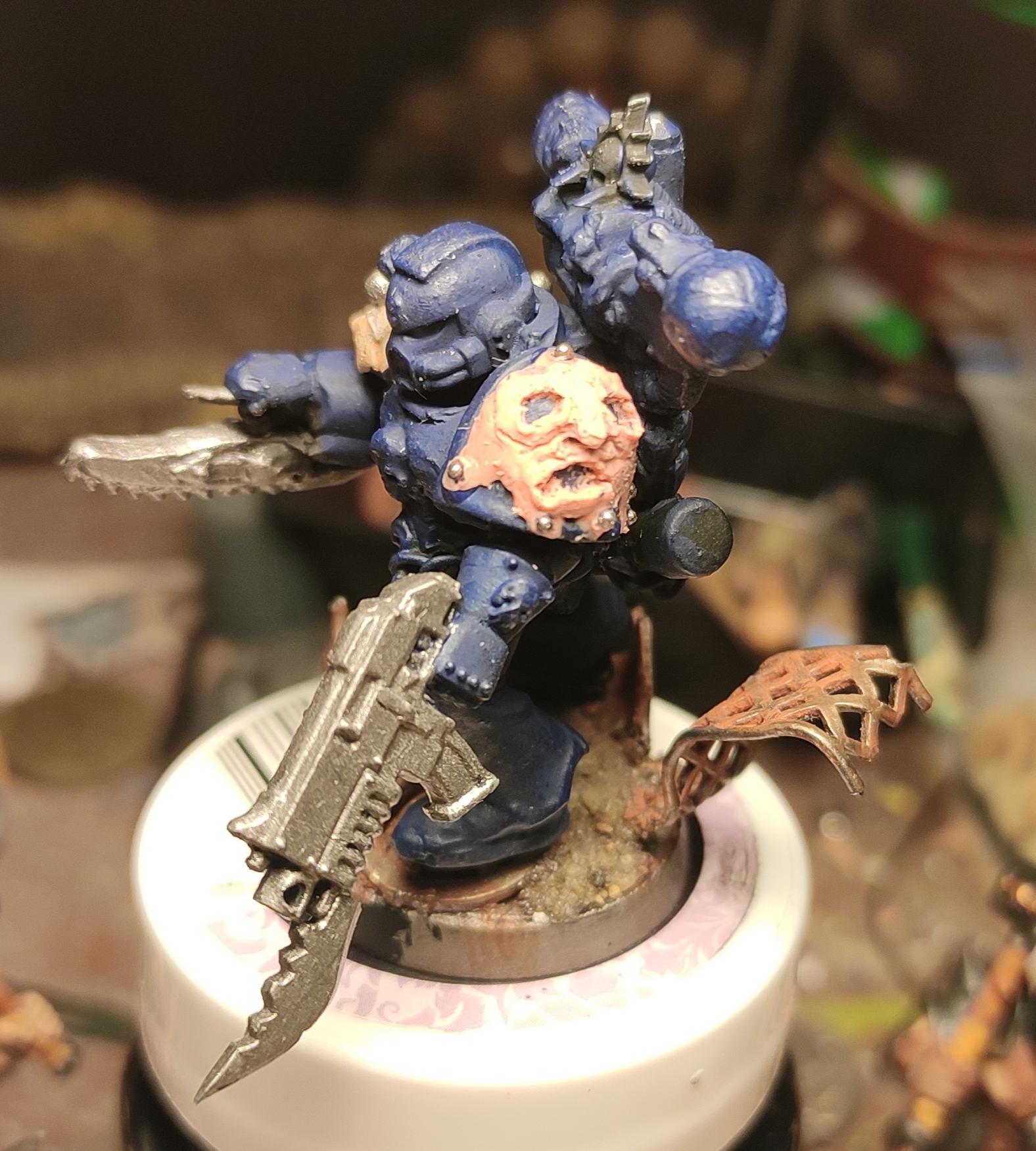 Apothecary, Ave Dominus Nox, Bayonet, Blurred Photo, Bolter, Chaos, Chaos Space Marines, Chaos Undivided, Container, Conversion, Epoxy, Face, First Claw, Flayed Face, Flayed Skin, Heresy, Heretic Astartes, Kitbash, Narthecium, Night Lords, Putty, Scratch Build, Sculpting, Traitor Legions, Trophy, Variel, Variel The Flayer, Warhammer 40,000, Work In Progress