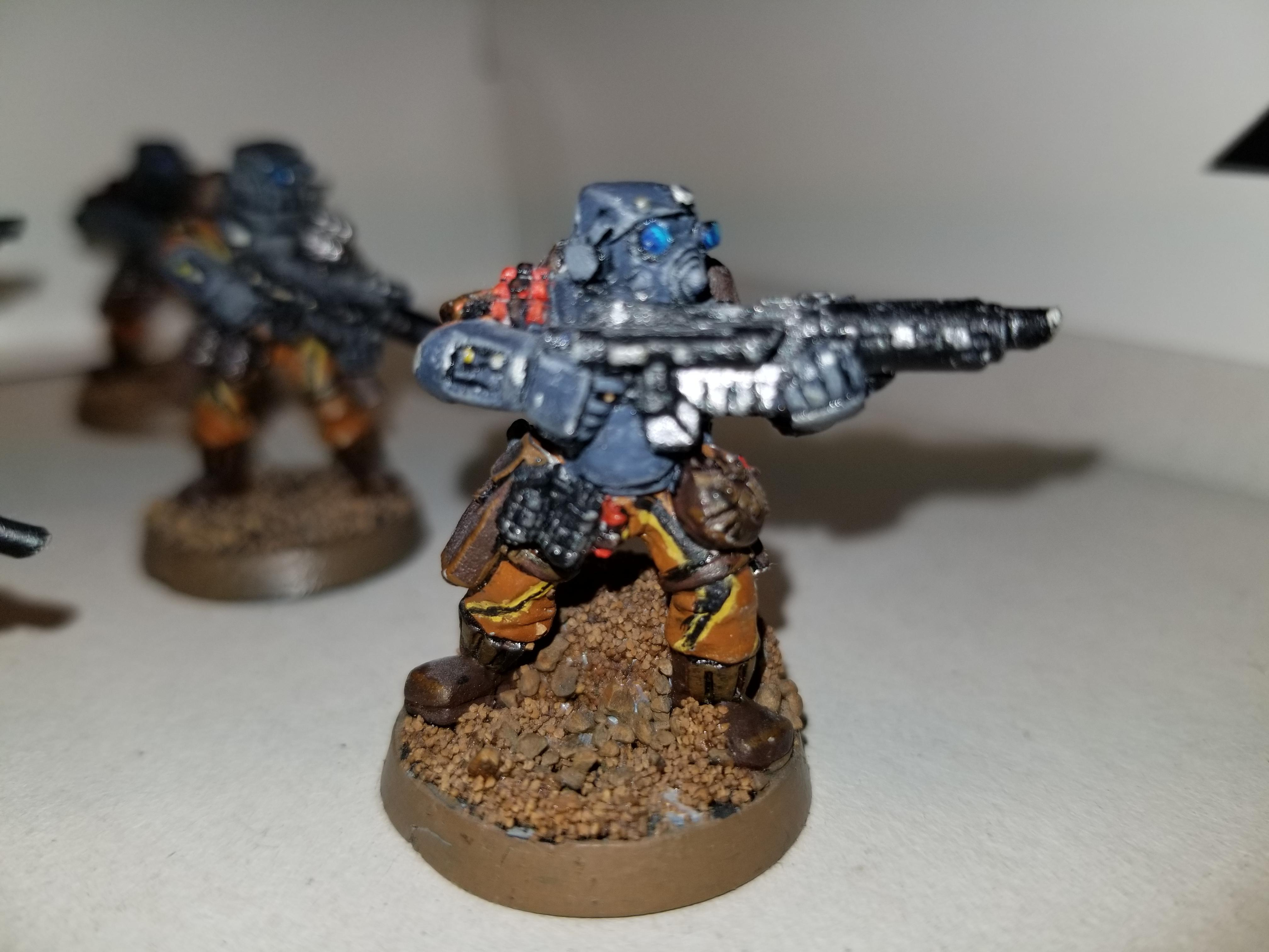 WH40k, metal, IG, Old Stormtroopers, Rifleman with mask