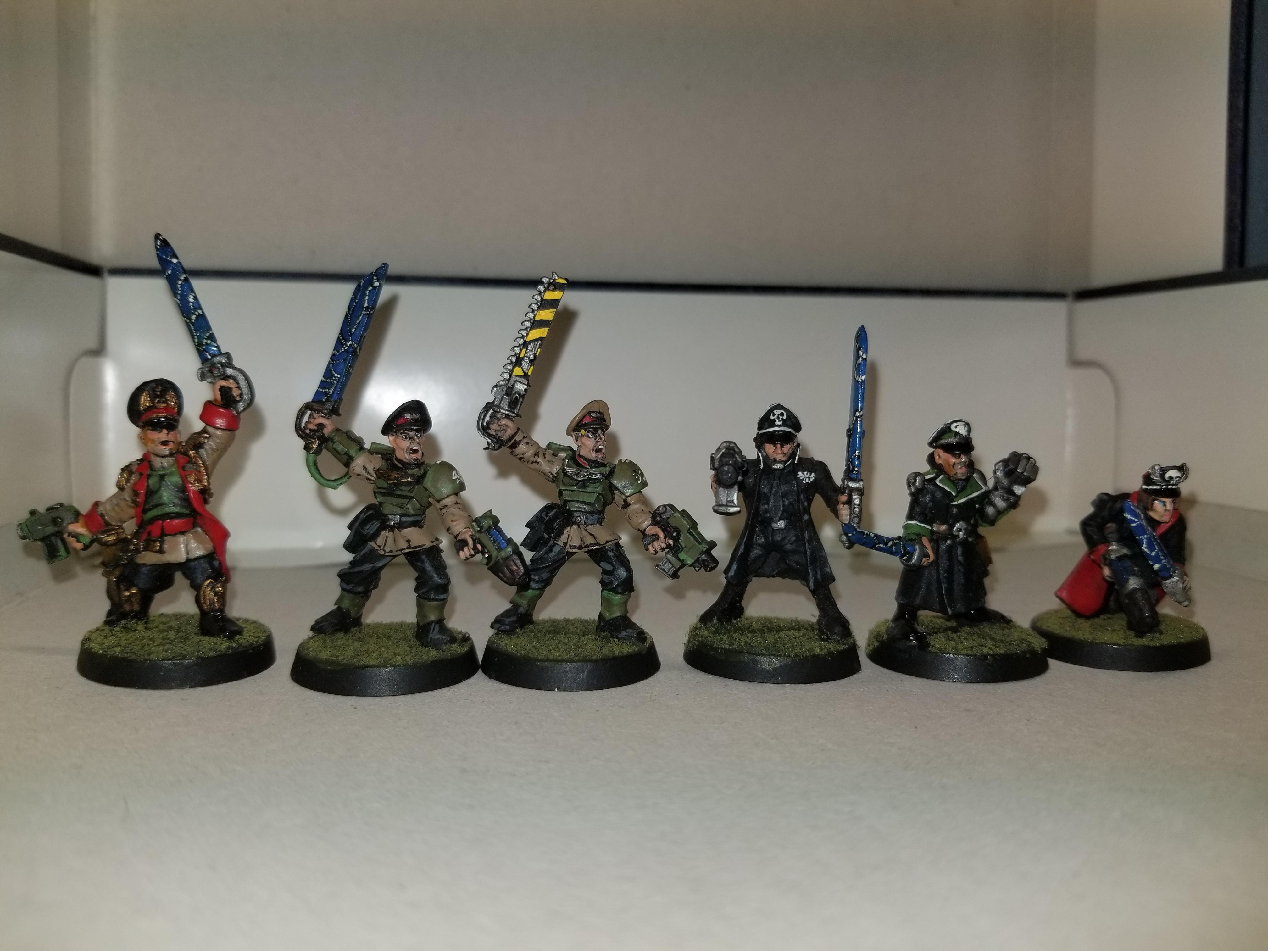 WH40k, Old Imperial Guard Commissars and Sergeants, metal, front