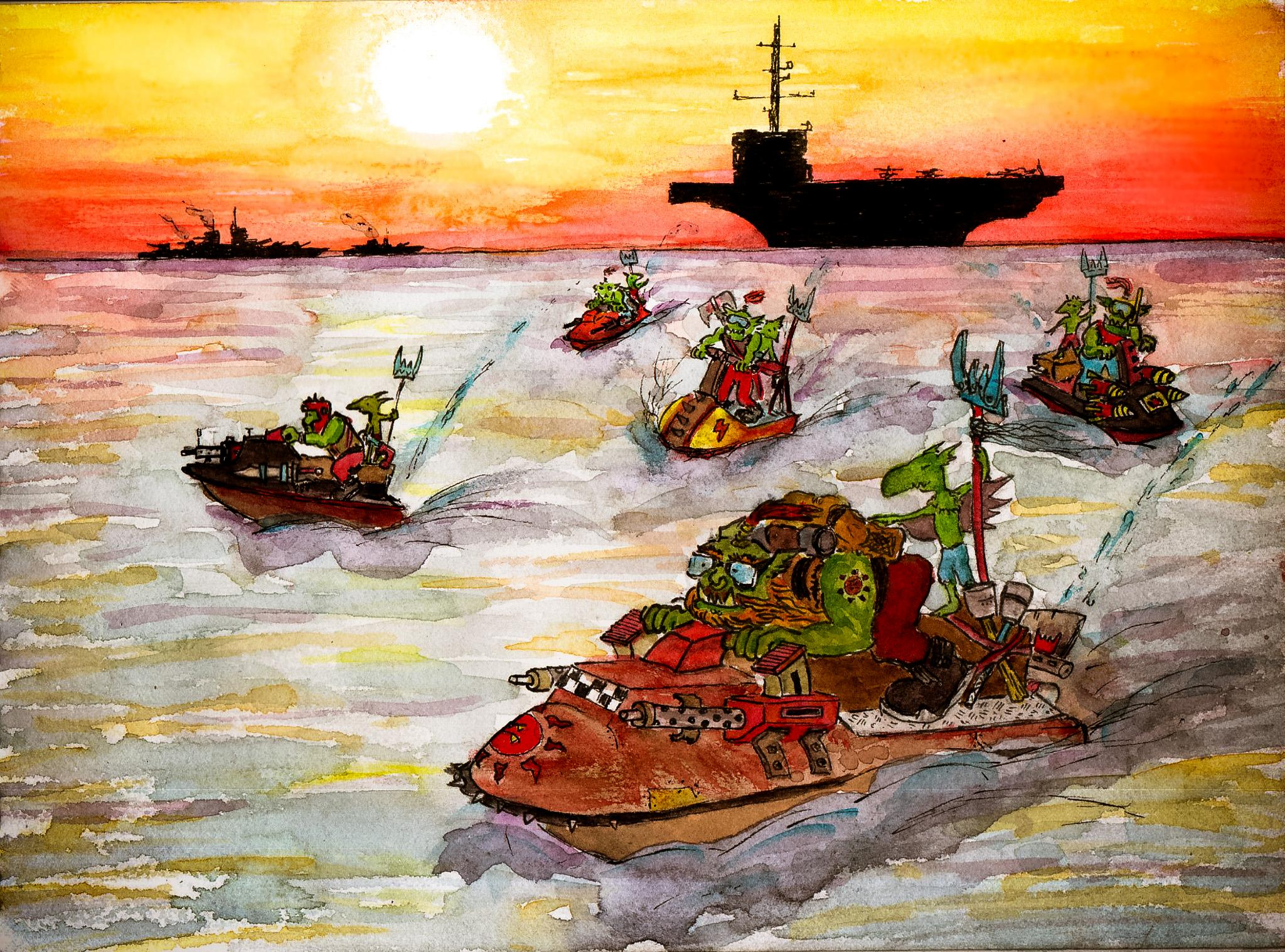 Boat, Drawing, Graphic, Grots, Humour, Illustration, Orks, Ship, Sketch