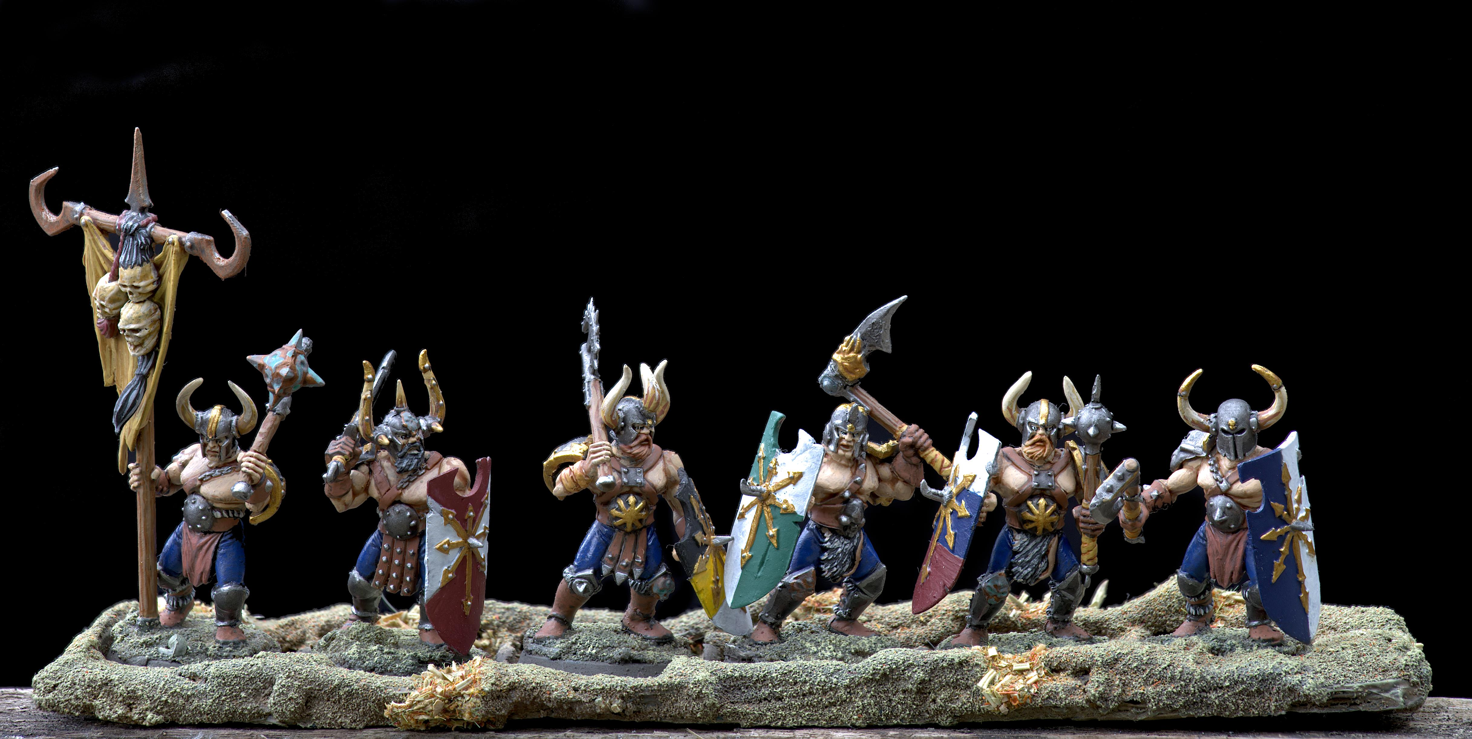 Age Of Sigmar, Axe, Banner, Barbarian, By Andrey Mishuta, Chaos, Chaos Undivided, Conversion, M.a.k., Marauders, Mutation, Norsca, Outdoors, Regiment, Slaves To Darkness, Warband, Warhammer Fantasy, Warriors