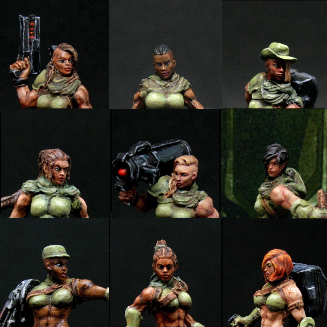 Alienhunter, Catachan, Conversion, Face, Female, Junglefighter