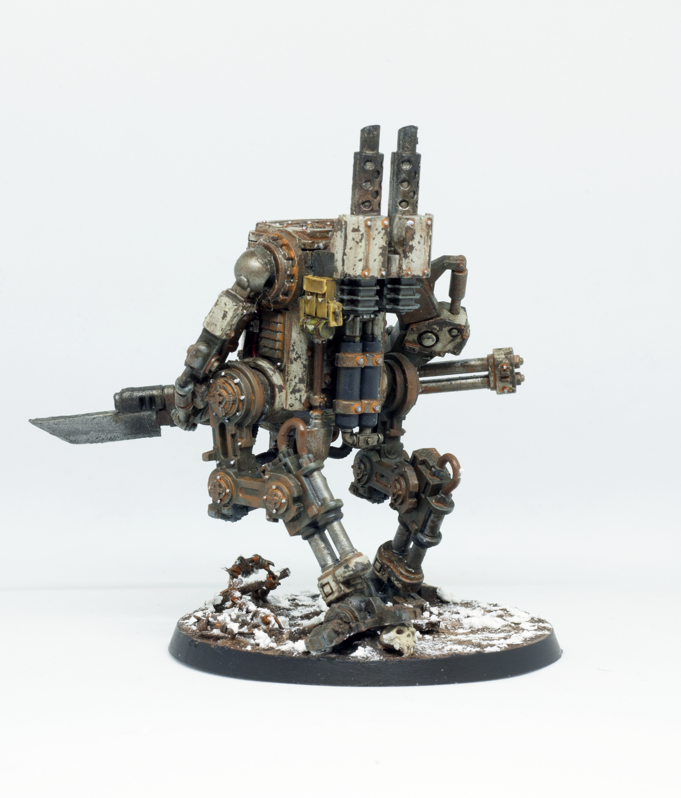 Barbed Wire, Conversion, Death Korps of Krieg, Heavy Support, Kitbash, Rust, Sentinel, Snow, Walker, Warhammer 40,000, Weathered