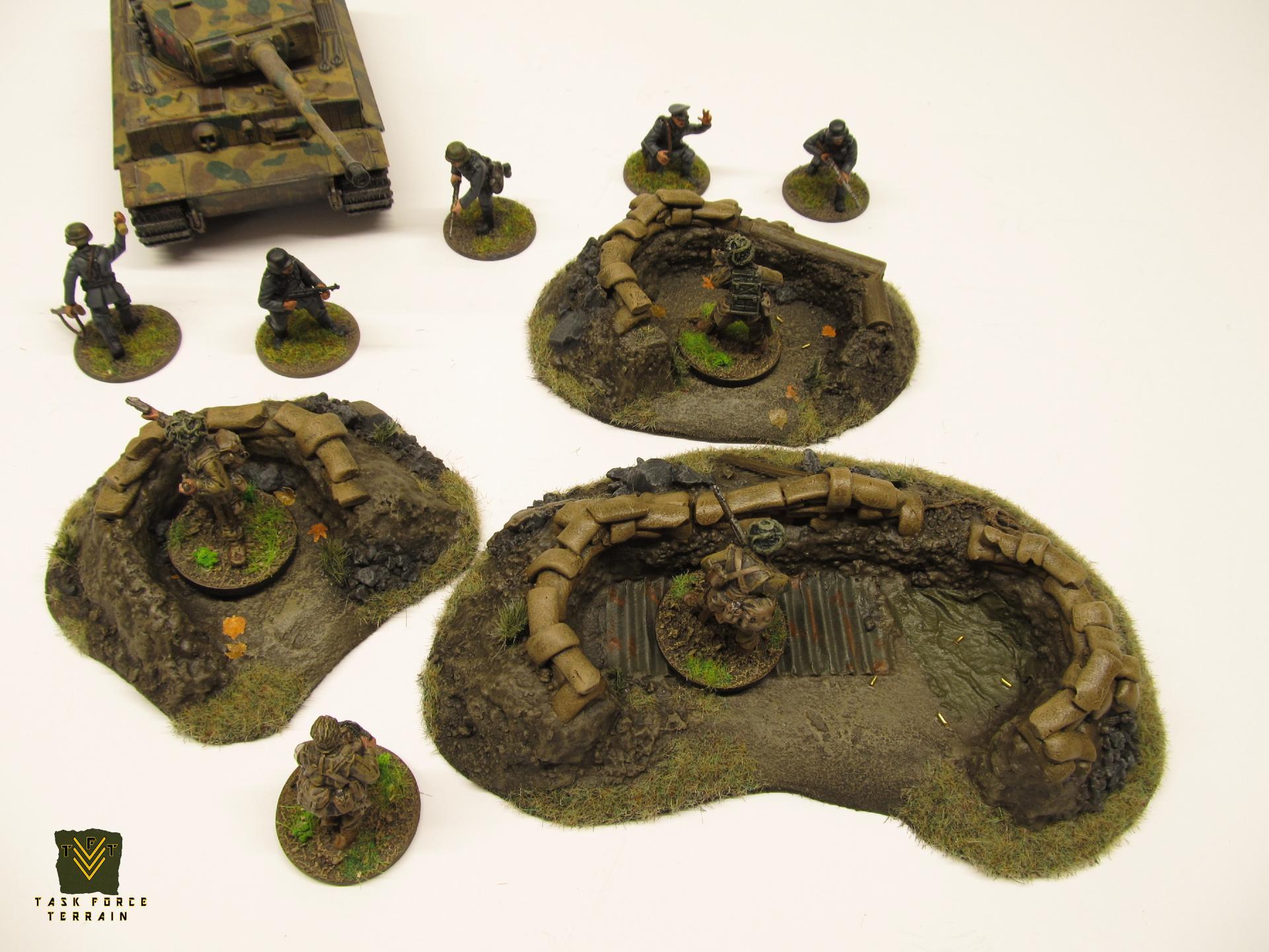 20mm, Buildings, Bunker, Foxholes, Positions, Sandbags, Terrain, Wargames Terrain, World War 2