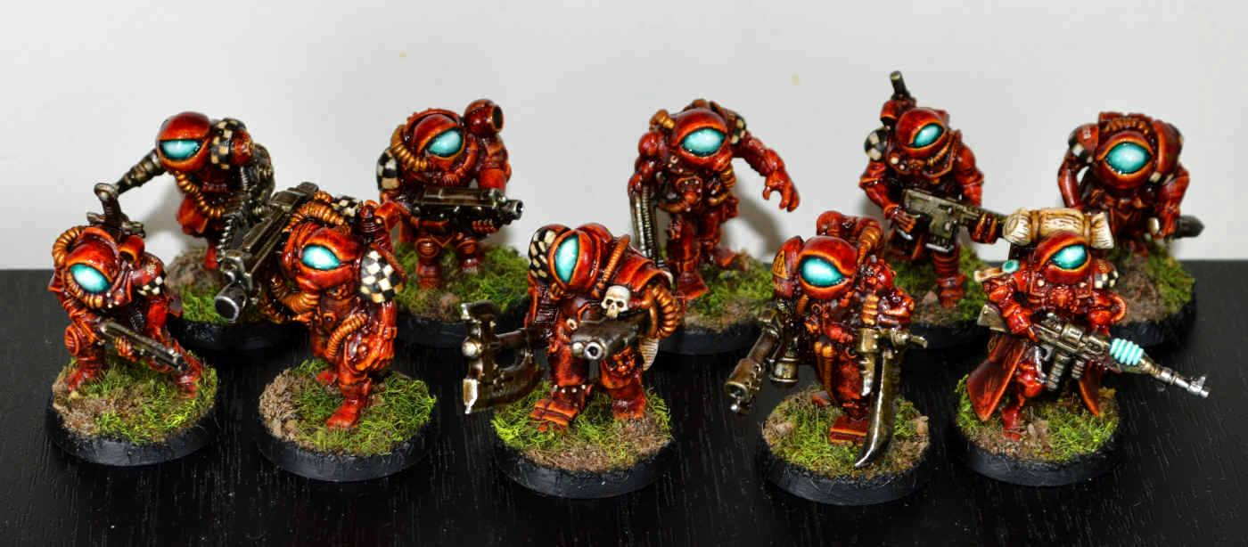 Chaos Cultists, Conversion, Gang, Kitbash, Necromunda, Orb-heads, Overlords, Proxy, Scratch Build, Sculpting, Troops, Warhammer 40,000