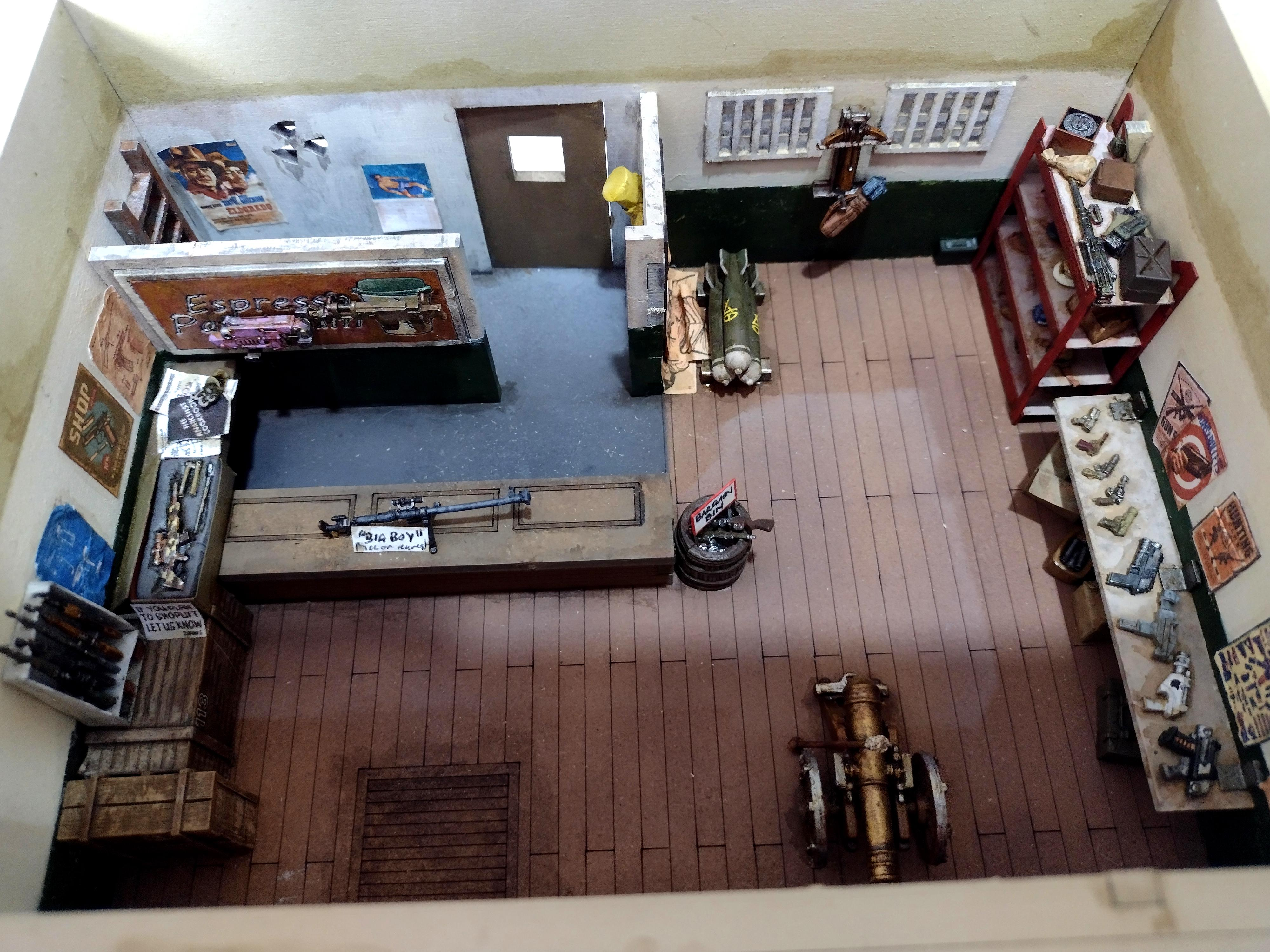 Cannon, Coffee, Gun Shop, Post-apoc