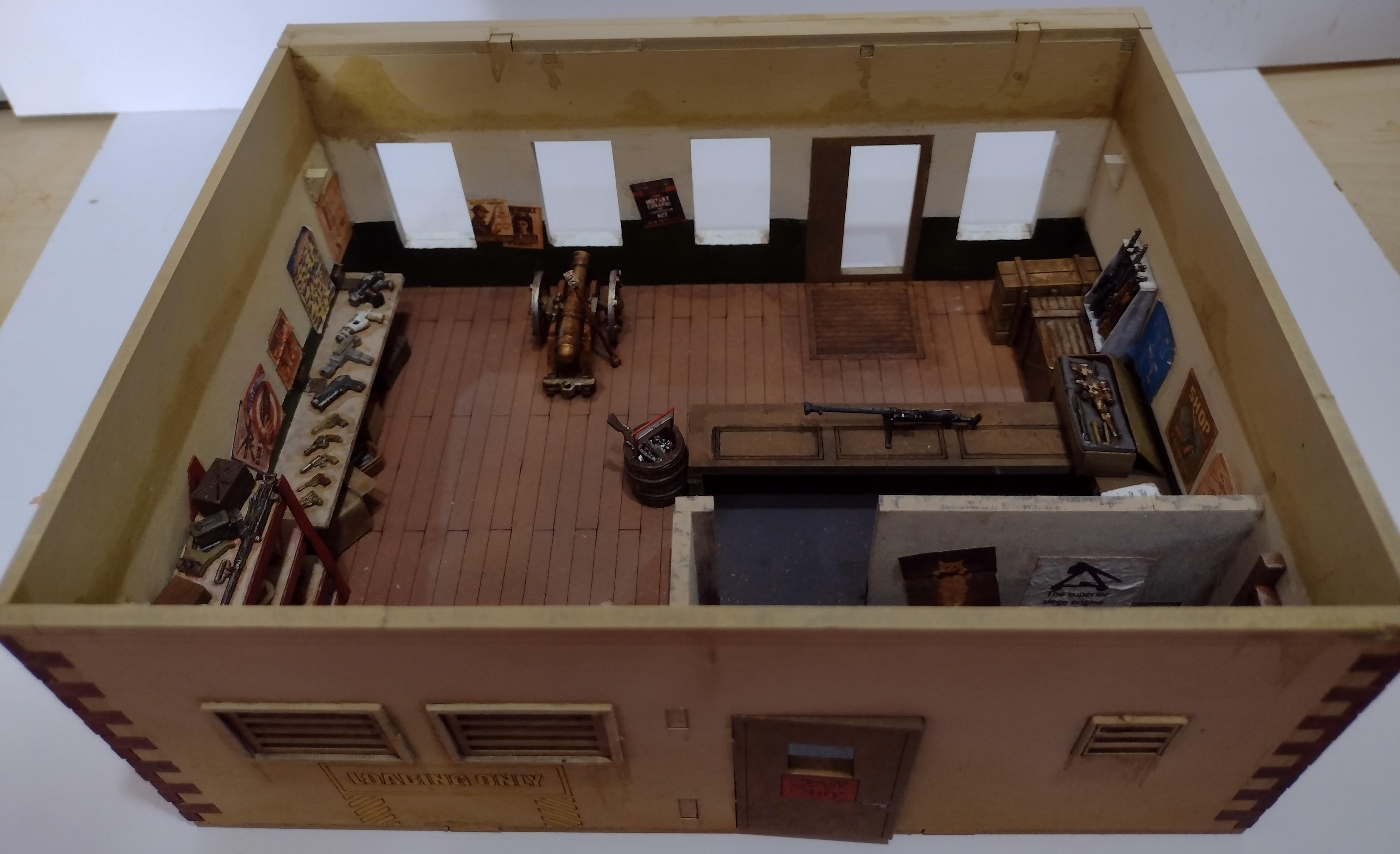 Coffee, Diorama, Gun Shop, Post-apoc