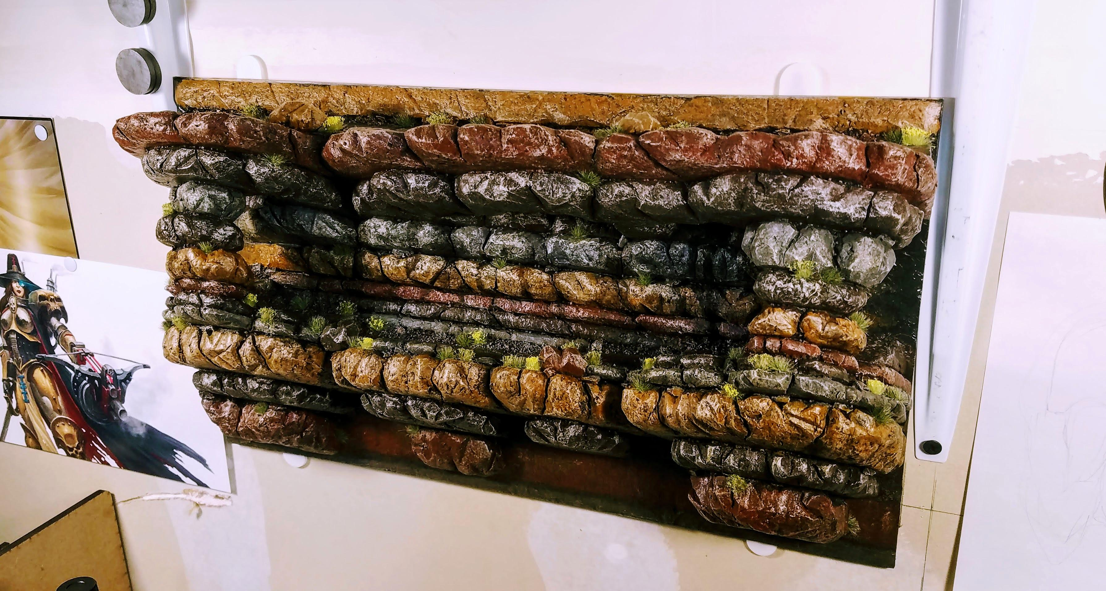 Shelf mounted on workshop wall