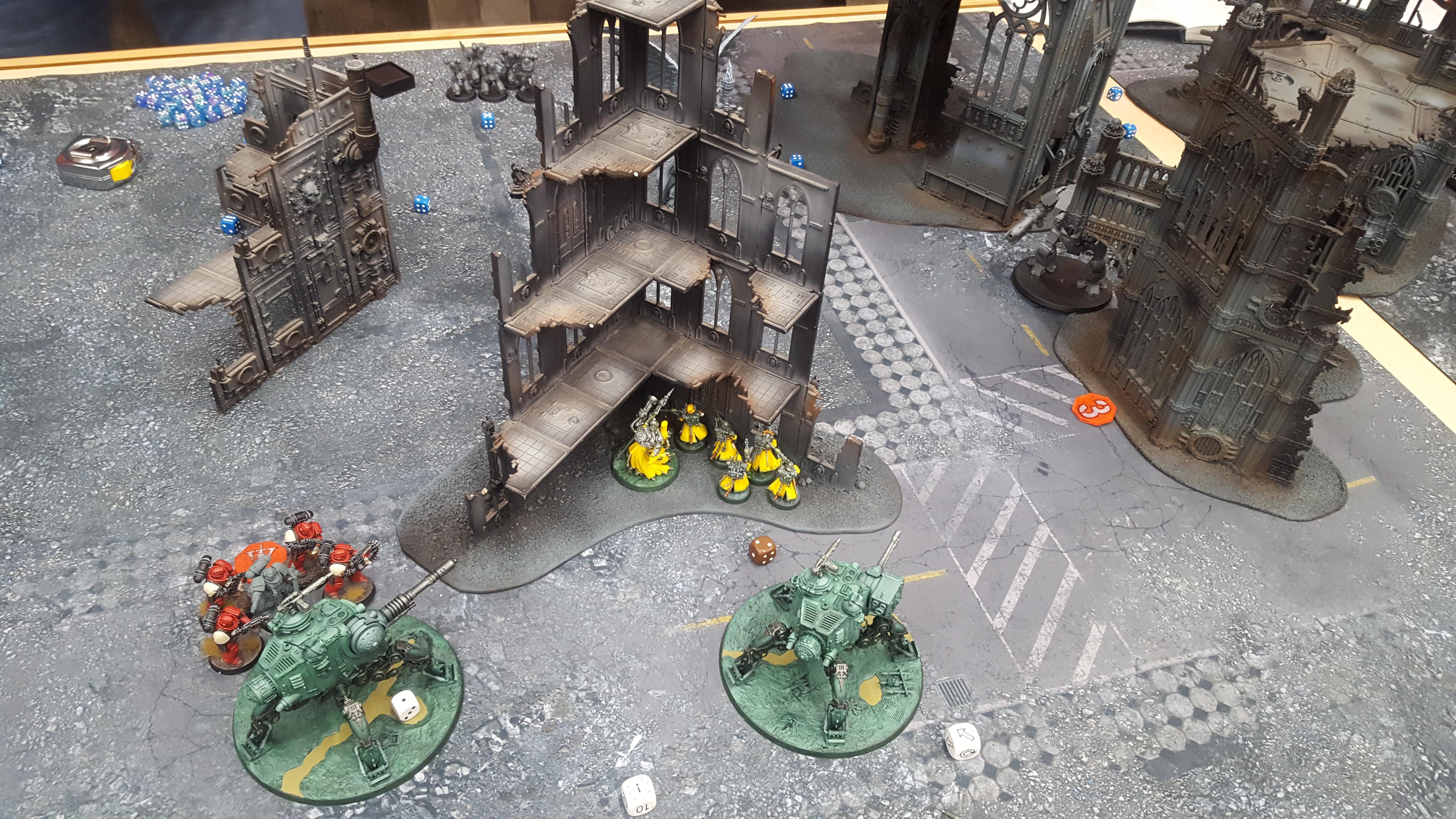 Battle Report, Dunecrawler, Intercessor, Mechanicus, Onager, Skitarii, Terrain, Vanguard