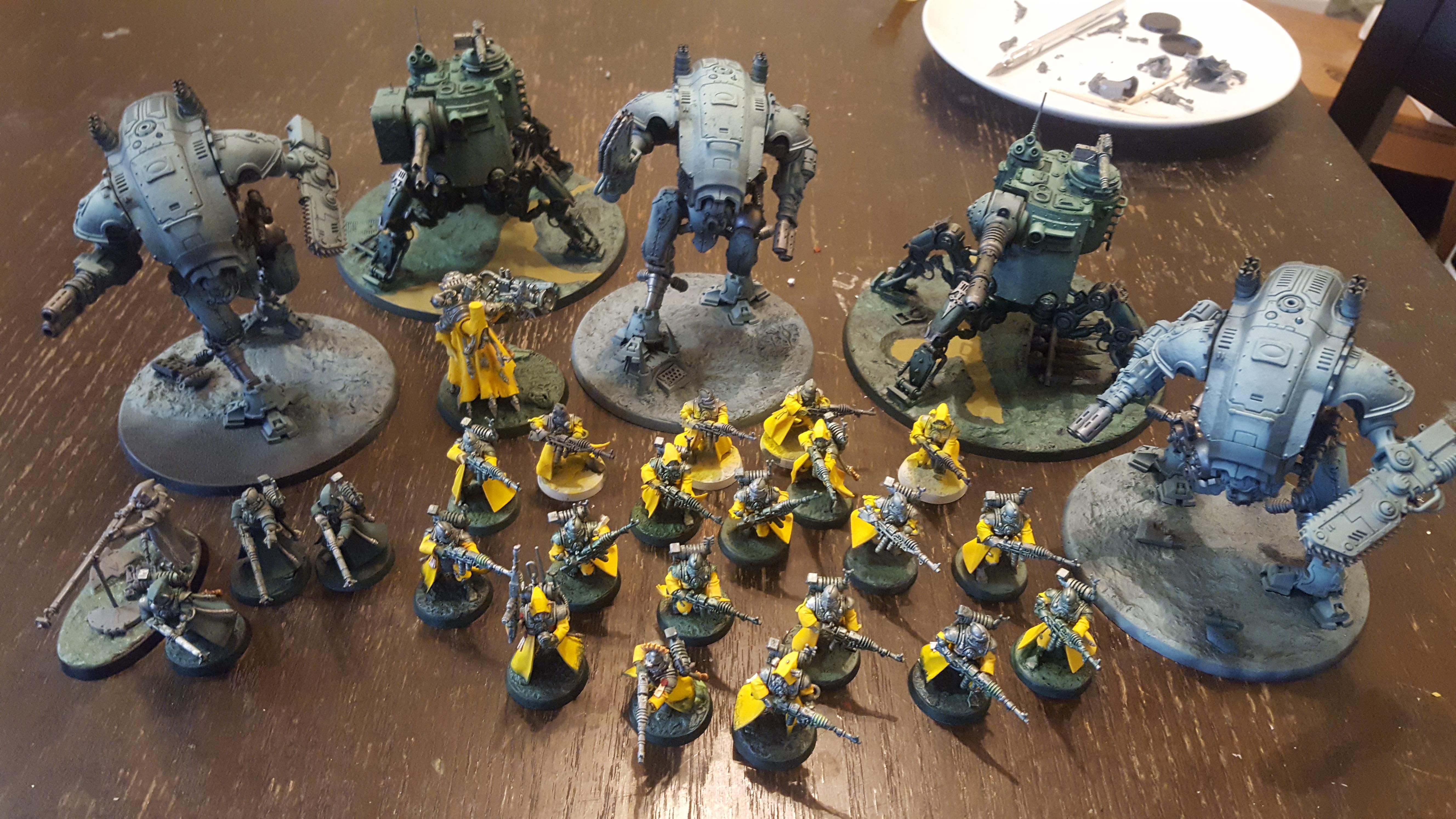 Adeptus Mechanicus, Armiger, Cool, Crusade, Dunecrawler, Dynamic, Imperial Knight, Onager, Pose, Skitarii, Warglaive