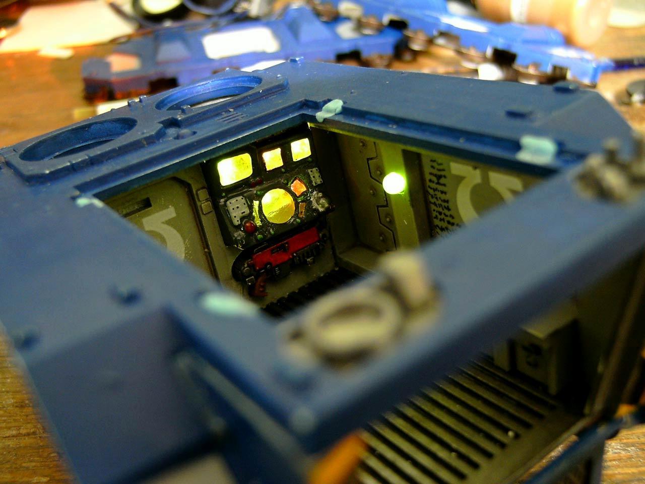 LED, Lighting, Rhino, Space Marines, Ultramarines, Warhammer