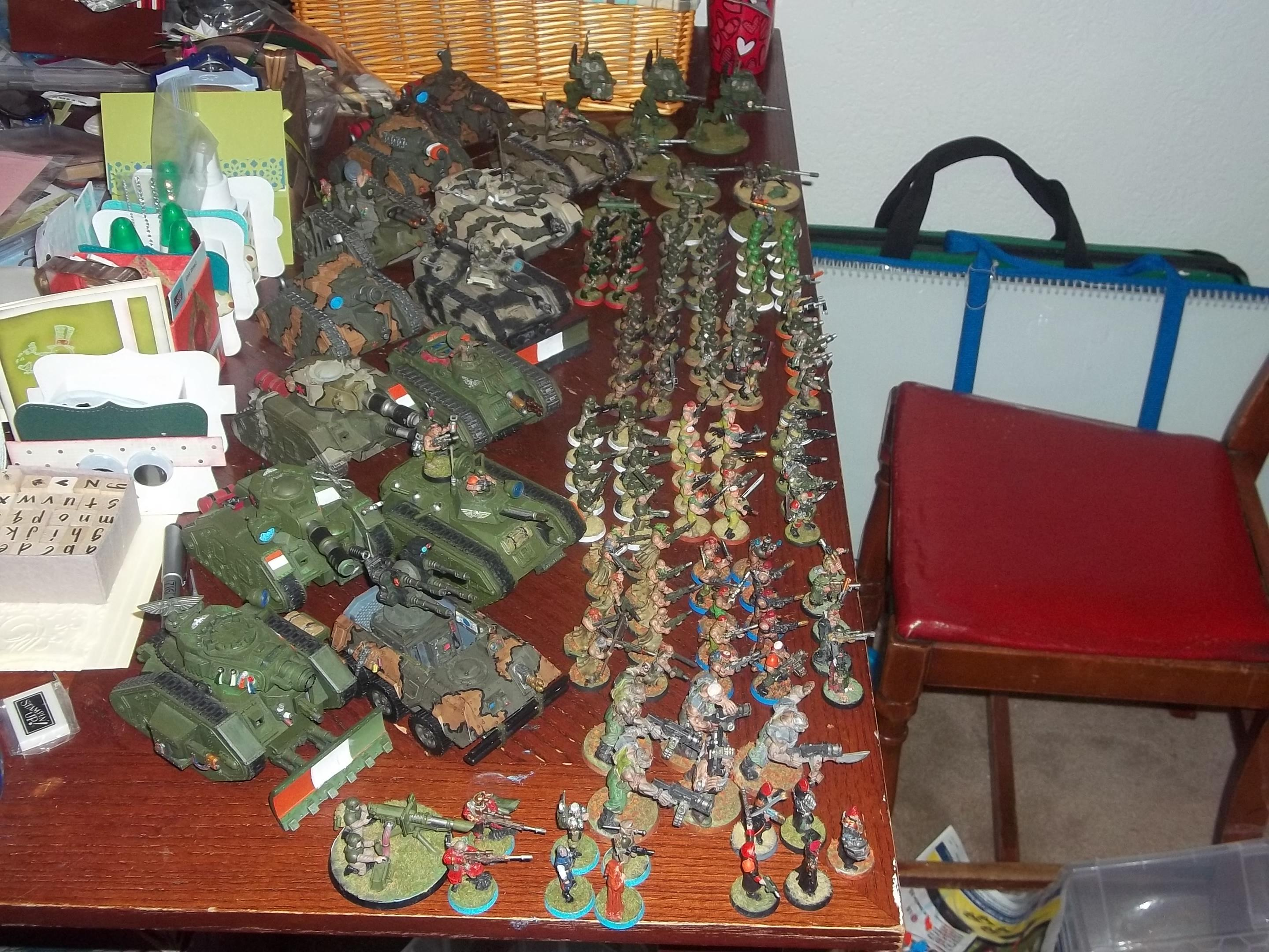 Complete army being pushed out by the papercraft - Complete army