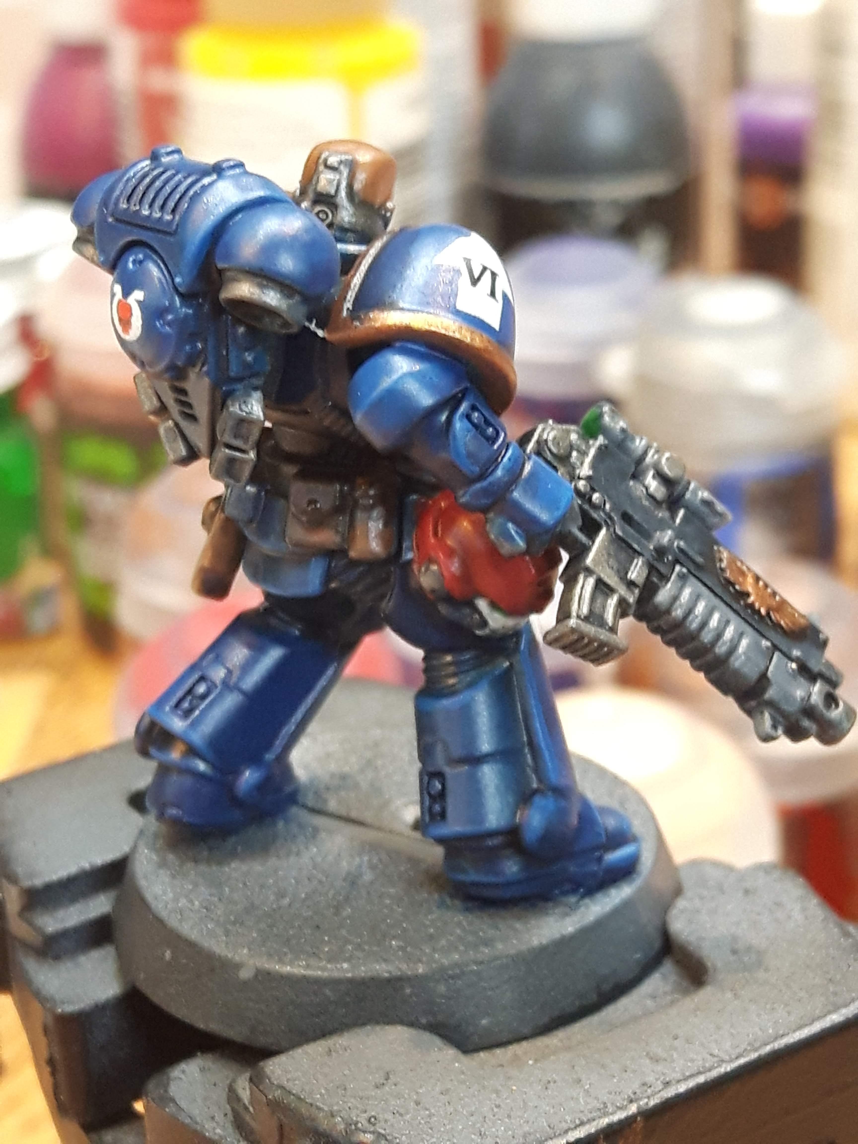 Blue, Glazes, Intercessor, Multipul Angles, Sergeant, Space Marines